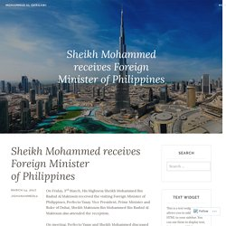 Sheikh Mohammed receives Foreign Minister of Philippines – Mohammad Al Gergawi