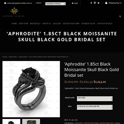 Black Moissanite Skull Black Gold Bridal Set