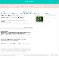 Revue Suisse de Viticulture Arboriculture Horticulture 12/2015; Un outil moléculaire pour détecter précocement le mildiou, l'oïdium et la pourriture grise dans les tissus de la vigne