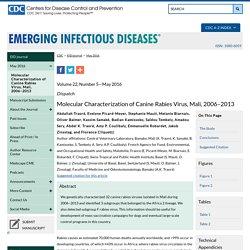 Molecular Characterization of Canine Rabies Virus, Mali, 2006–2013 - Volume 22, Number 5—May 2016