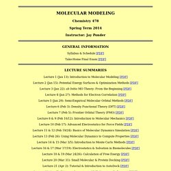 Molecular Modeling Course Page