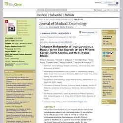 Journal of Medical Entomology Jul 2010 : Vol. 47, Issue 4, pg(s) 527-535 Molecular Phylogenetics of Aedes japonicus, a Disease V