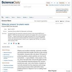 'Molecular scissors' for plastic waste: Enzyme MHETase decoded