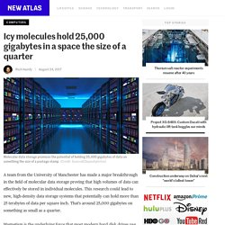 Icy molecules hold 25,000 gigabytes in a space the size of a quarter