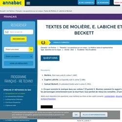 Textes de Molière, E. Labiche et Beckett