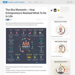 The Aha Moment - How Entrepreneurs Realized What To Do In Life