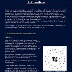 Mon site personnel - Antimatière