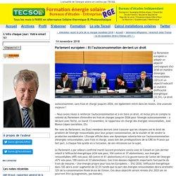Parlement européen : Et l'autoconsommation devient un droit