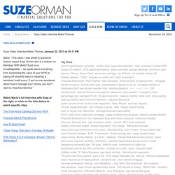Suze On Mondays With Marlo - Video Interviews