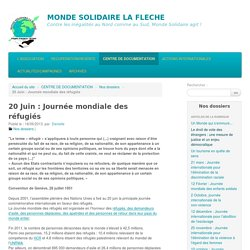 20 Juin : Journée mondiale des réfugiés - MONDE SOLIDAIRE LA FLECHE
