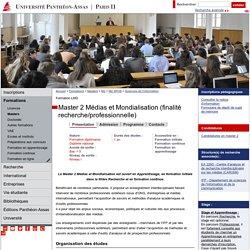 Master 2 Médias et Mondialisation (finalité recherche/professionnelle)