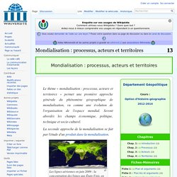Mondialisation : processus, acteurs et territoires — Wikiversité