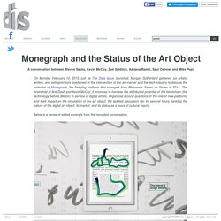 Monegraph and the Status of the Art Object