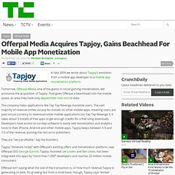 Offerpal Media Acquires Tapjoy, Gains Beachhead For Mobile App Monetization