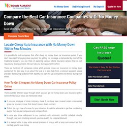 No Money Down Car Insurance Quote, Buy Auto Insurance with No Money Down