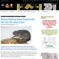Money Making Ideas Experiment We Can All Learn From