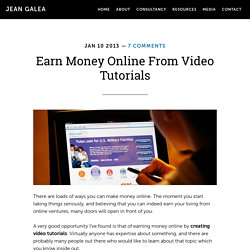 Earn Money Online From Video Tutorials - Jean Galea
