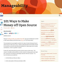 101 Ways to Make Money off Open Source