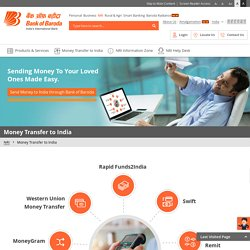 Remit to India: Money Transfer to India at Bank of Baroda