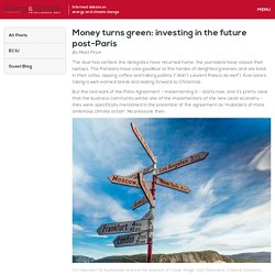 Money turns green: investing in the future post-Paris - ECIU