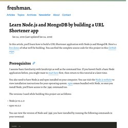 Learn Node.js and MongoDB by building a URL Shortener app