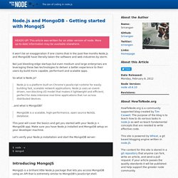 Node.js and MongoDB - Getting started with MongoJS
