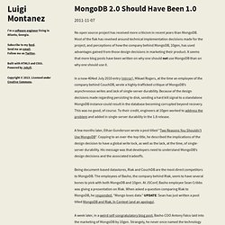 MongoDB 2.0 Should Have Been 1.0