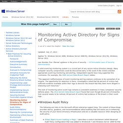 Monitoring Active Directory for Signs of Compromise