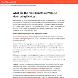 What are the most benefits and usefulness of Vehicle Monitoring Devices?