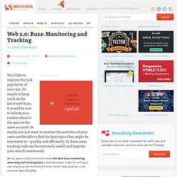 Web 2.0: Buzz-Monitoring and Tracking | Developer's Toolbox