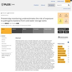 PLOS 12/04/18 Present-day monitoring underestimates the risk of exposure to pathogenic bacteria from cold water storage tanks