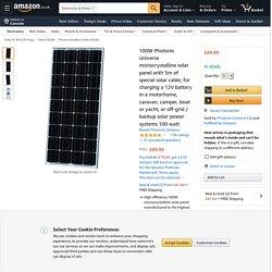 100W Photonic Universe monocrystalline solar panel with: Amazon.co.uk: Electronics