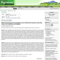 AGRONOMY - 1993 - Effet à long terme de la monoculture sur le rendement en grain du maïs (Zea mays L) en conditions non irriguée