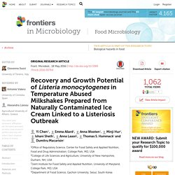FRONTIERS IN MICROBIOLOGY 18/05/16 Recovery and Growth Potential of Listeria monocytogenes in Temperature Abused Milkshakes Prepared from Naturally Contaminated Ice Cream Linked to a Listeriosis Outbreak