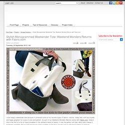 Stylish Monogrammed Weekender Tote: Weekend Wonders Returns with Fabric.com