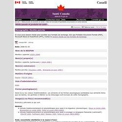 SANTE CANADA 12/03/08 Menthe poivrée