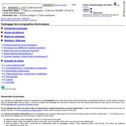 Catalogage des monographies électroniques (monographies)
