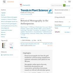 Botanical Monography in the Anthropocene