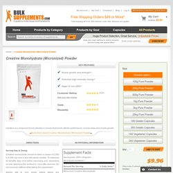 Creatine Monohydrate (Micronized) Powder by BulkSupplements.com