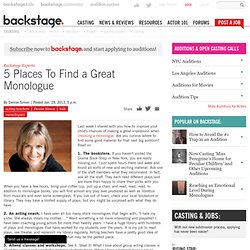 5 Places To Find a Great Monologue
