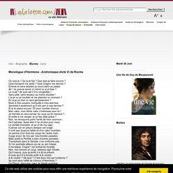 Monologue dHermione - Andromaque (Acte V) de Racine