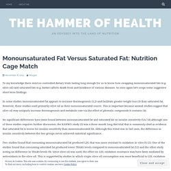 Monounsaturated Fat Versus Saturated Fat: Nutrition Cage Match – The Hammer of Health