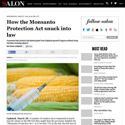 How the Monsanto Protection Act snuck into law