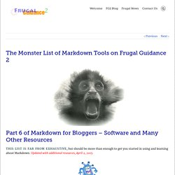 The Monster List of Markdown Tools on Frugal Guidance 2