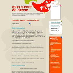 Carnet de classe de l'école au Pied-de-la-Montagne annexe: Formation Isabelle Faucher Français