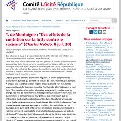"""T. de Montaigne : """"Des effets de la contrition sur la lutte contre le racisme"""" (Charlie Hebdo, 8 juil. 20)"""