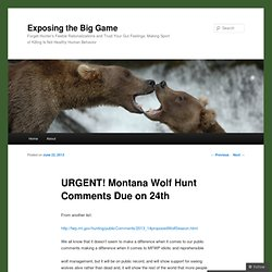 URGENT! Montana Wolf Hunt Comments Due on 24th‏