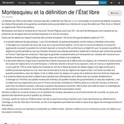 Montesquieu et la définition de l'État libre