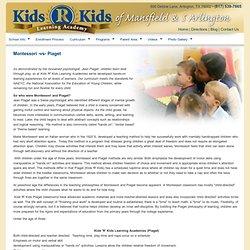 Montessori Curriculum Piaget Kids R Kids