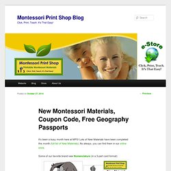 New Montessori Materials, Coupon Code, Free Geography Passports
